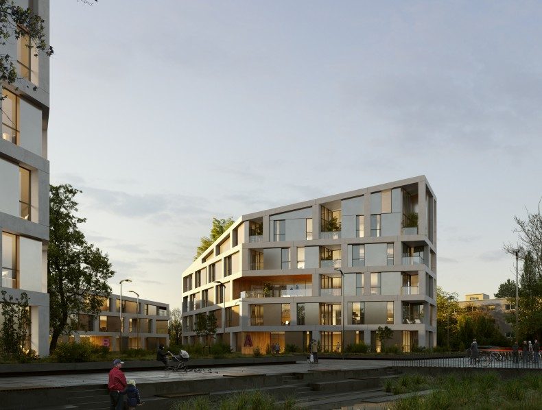 Architectural and urban planning of a residential area in the city of Karlsruhe (Germany)